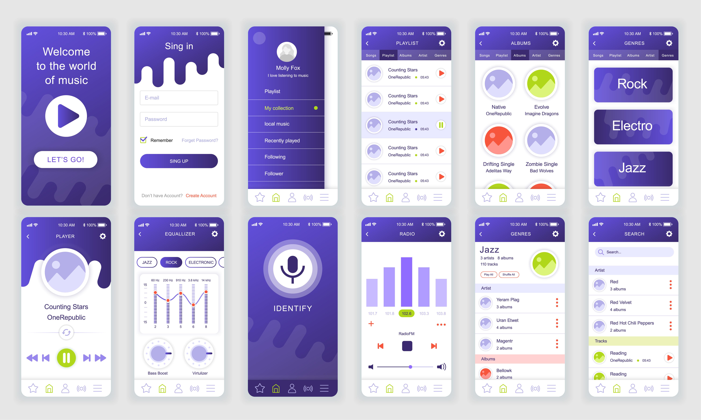 set of ui  ux  gui screens music app flat design template