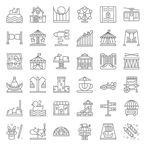 Pretpark pictogram en muntautomaat ritje, dunne lijn