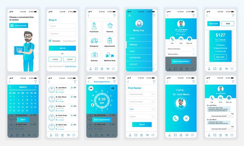 Ensemble d'écrans d'interface utilisateur, UX, GUI Modèle de conception plate de l'application de médecine pour applications mobiles, structures filaires de site Web réactif Kit d'interface utilisateur Web. Tableau de bord de médecine.