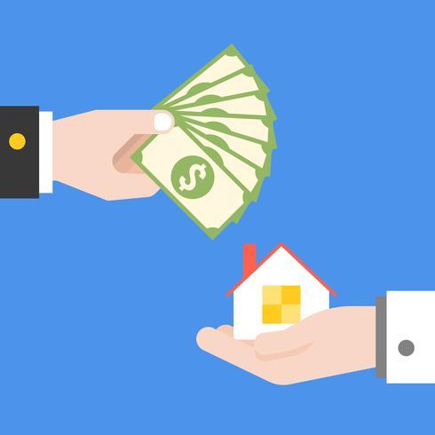 Hand, die Banknoten und Hand tragendes Haus hält
