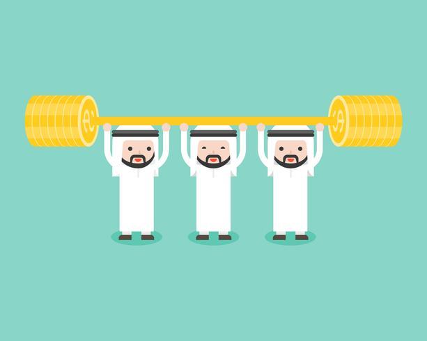 Equipo del empresario árabe pesas de oro con barra