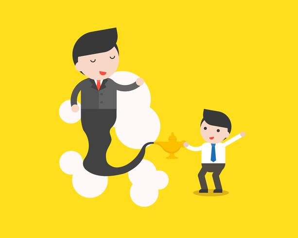 Cute businessman and giant businessman from Arabian lamp, business situation in flat design vector