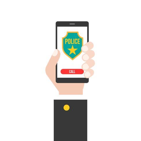 mano de negocios con teléfono inteligente llamando a la policía 911 desde la aplicación, diseño plano