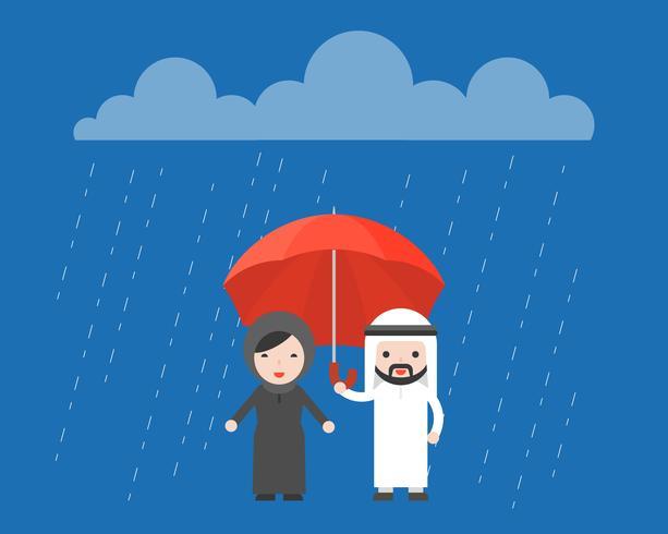 Hombre de negocios árabe compartiendo un paraguas con una mujer árabe.