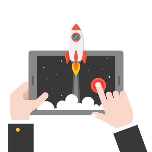 fusée de lancement de main d'affaires de tablette ou téléphone intelligent