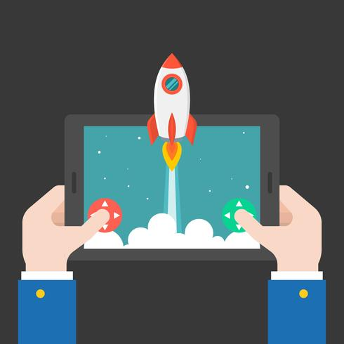 business hand launching rocket from tablet or smart phone vector