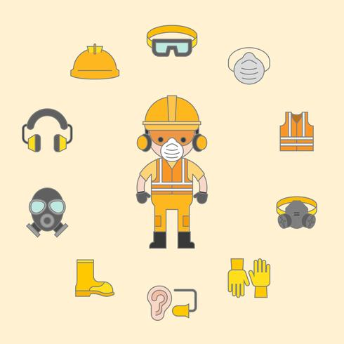 industrial security and protective equipment for worker illustration, filled outline flat design