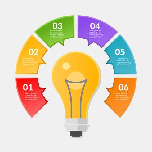 Infographik Vorlage von Schritt oder Workflow-Diagramm mit Glühbirne