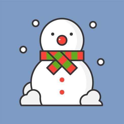 Muñeco de nieve y caída de nieve, lleno icono de contorno para tema de Navidad vector