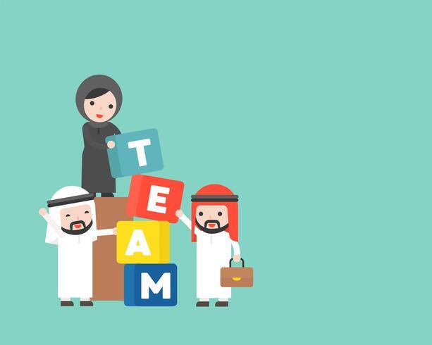 Empresarios árabes y gerente con bloque de equipo, concepto de formación de equipo