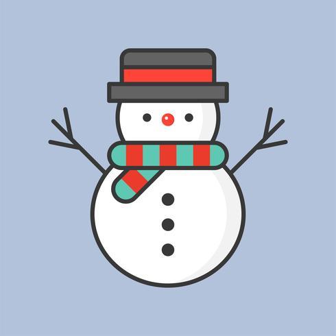 bonhomme de neige, icône de contour rempli pour le thème de Noël vecteur