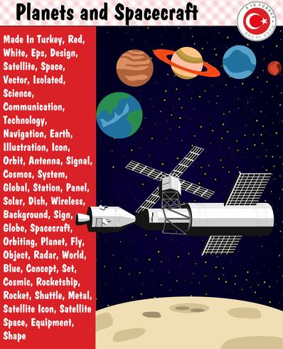 Planets and Spacecraft, eps, vector