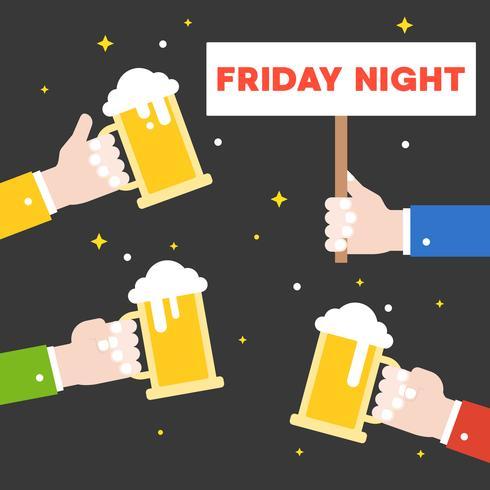 Mão de negócios segurando a celebração de jarro de cerveja para sexta à noite, design plano