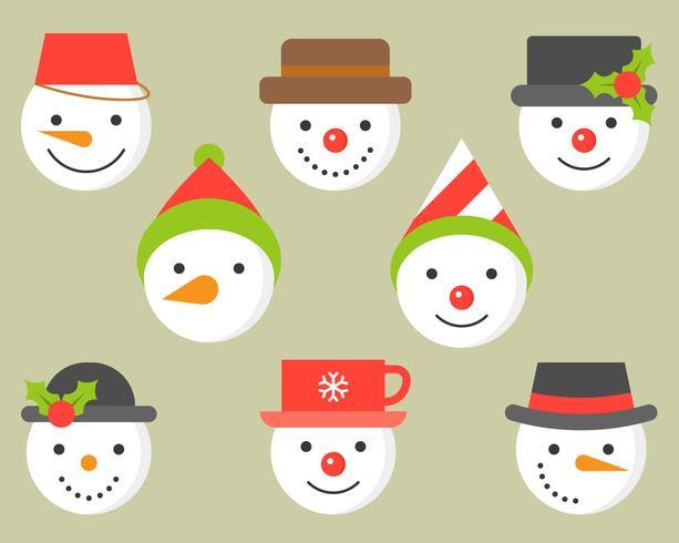 pupazzo di neve e varie icone di cappello per l'inverno e natale vettore