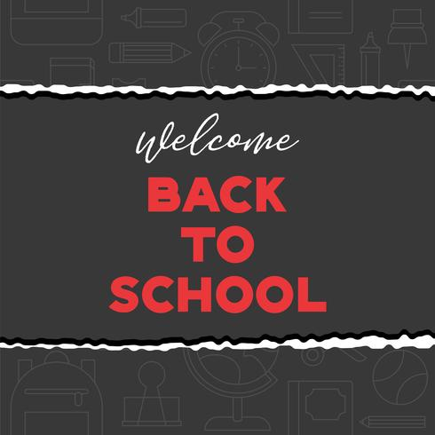 welcome back to school typography on school supplies outline background vector