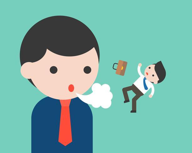 De grote zakenman die een kleine zakenman blaast, belemmert concept
