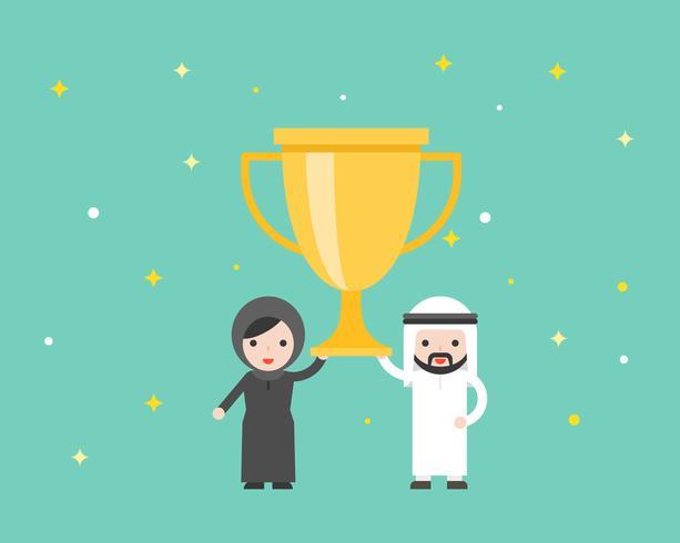 Arab businessman and Arab woman holding big gold trophy award vector