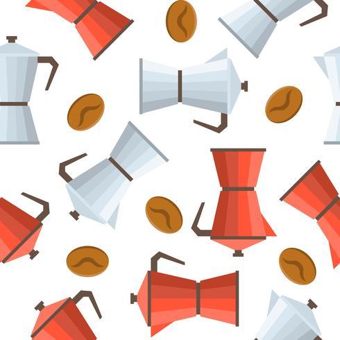 Moka coffee pot seamless pattern and coffee beans vector