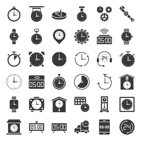 Relógio, relógios e conjunto de ícones relacionados ao tempo, como horas de trabalho