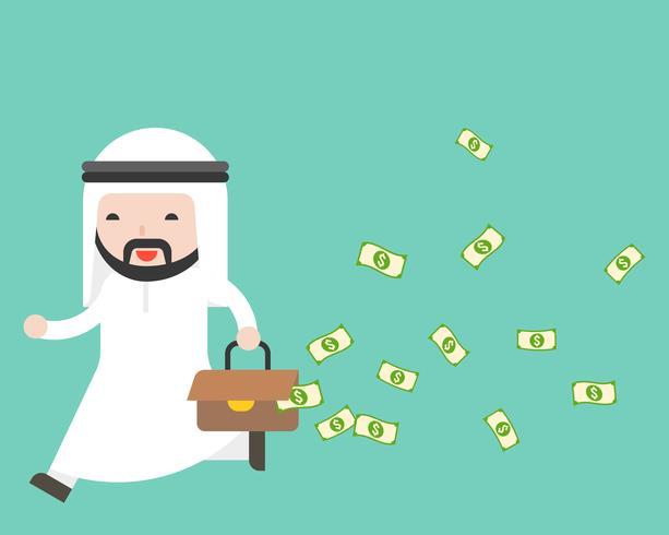 Homme d'affaires arabe en cours d'exécution avec un sac d'argent de fuite