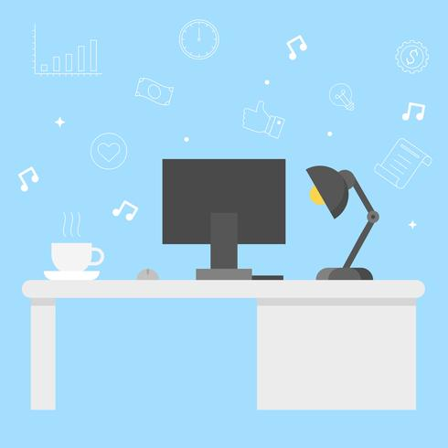 Modern Office desk with computer, coffee and lamp vector