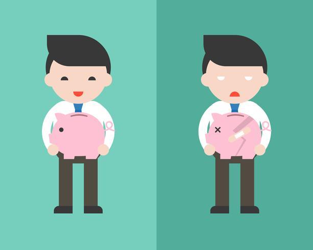 Hombre de negocios feliz que sostiene el piggybank y el hombre de negocios triste vector