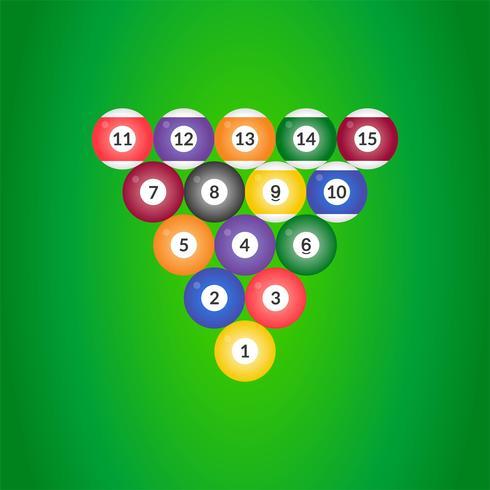 Biljart bal vector pictogram op groene achtergrond