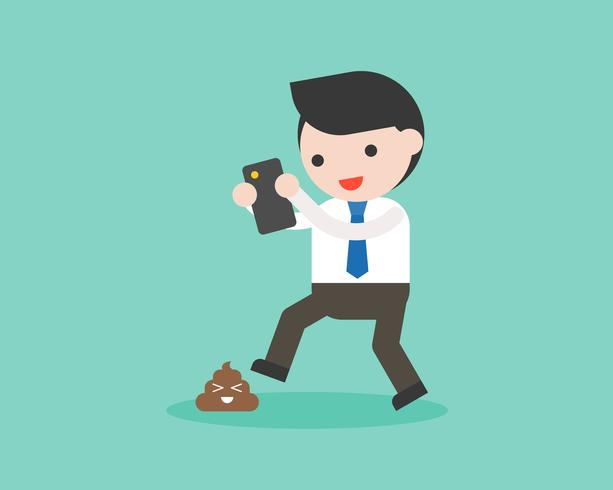Businessman addict smartphone and don't looking poo on road vector