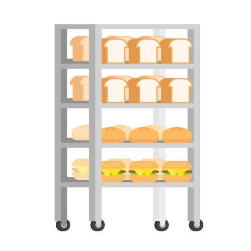 Bread rack with freshly baked bread vector Illustration flat design