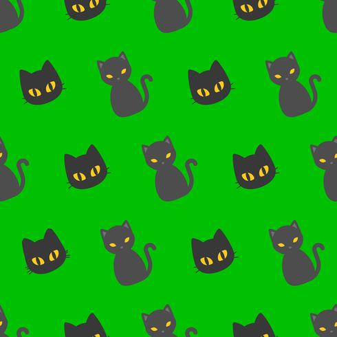 Zwarte kat Halloween naadloze patroon, platte ontwerp met knip masker