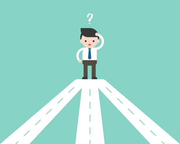 Businessman confusing with road junction, making decision business concept