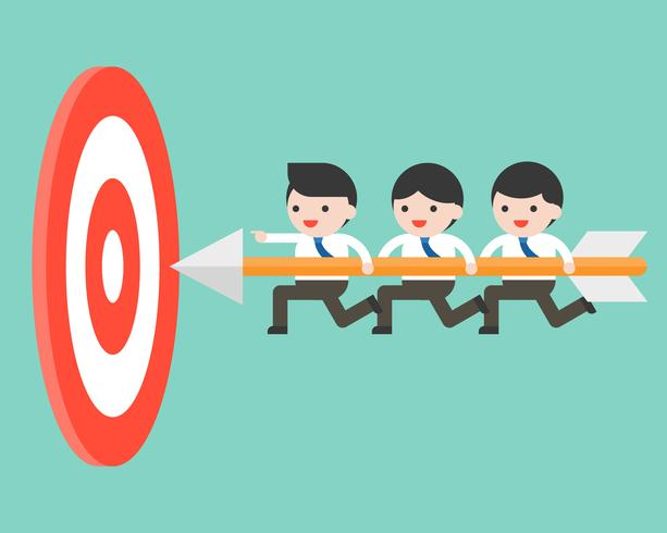 Tiny businessmen carrying arrow to reach goal board