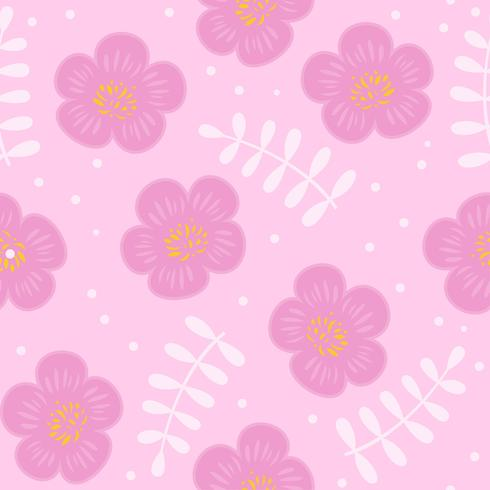 floral seamless pattern, flat design for use as background, wrapping paper or  wallpaper