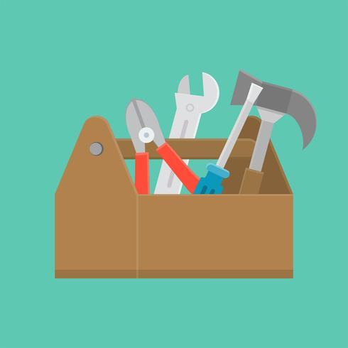 gereedschapskist en apparatuur pictogram, onderhoud en reparatie service concept, platte ontwerp