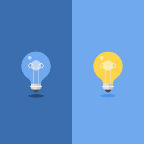 Desligado e brilhante lâmpada, design plano vetor
