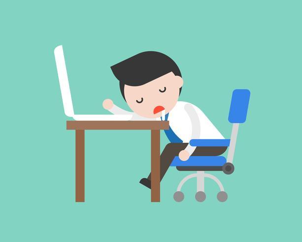 Leuke zakenman die op bureau op werkende plaats, bedrijfssituatie in vlak ontwerp dutten