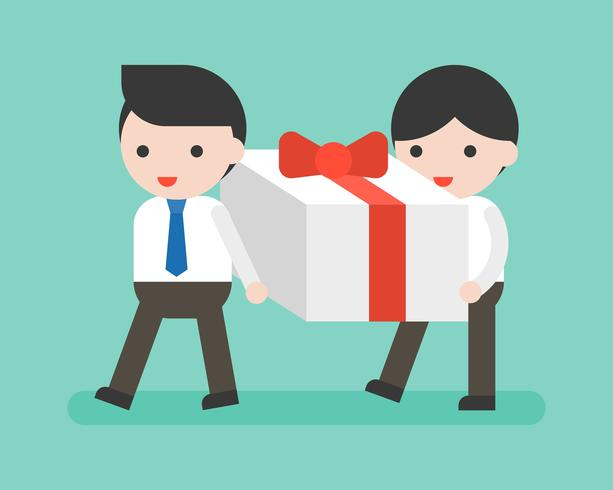 Dos hombre de negocios llevando gran caja actual, situación de negocio vector