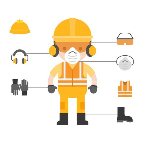 industrial security and protective equipment for worker vector