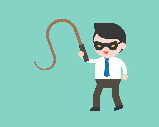 Homme d'affaires mignon ou gestionnaire avec masque et fouet, personnage prêt à l'emploi