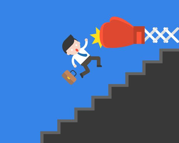 Big boxing glove punching Cute businessman fall from stairs vector