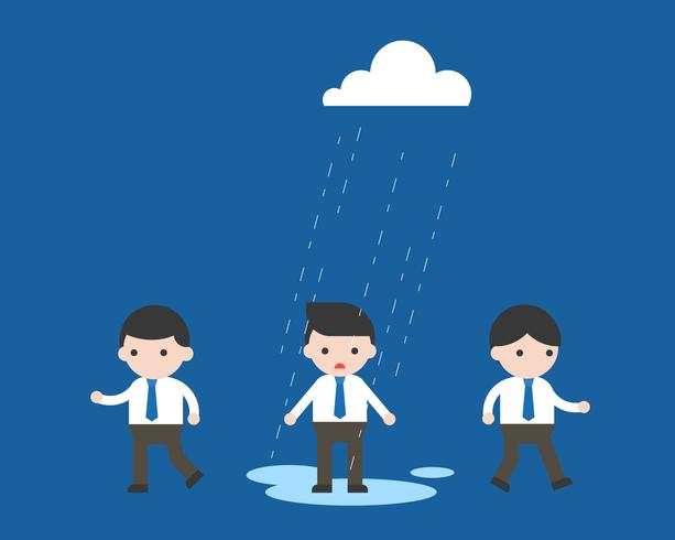Regnar på Affärsman ensam, orättvist och ojämnt koncept