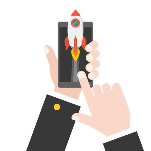 mano d'affari lancio razzo da tablet o smartphone