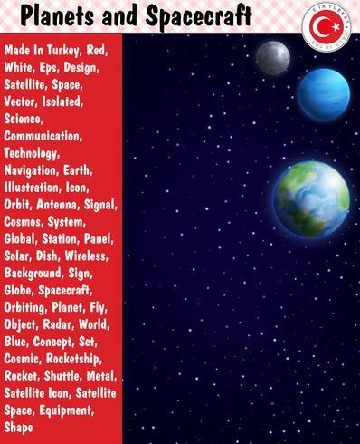 Planetas y naves espaciales, eps, vector