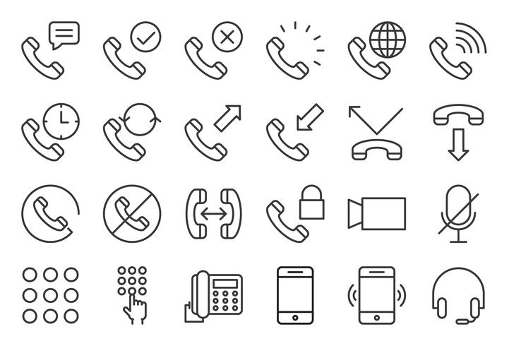 Basic phone and call icon set, outline style vector