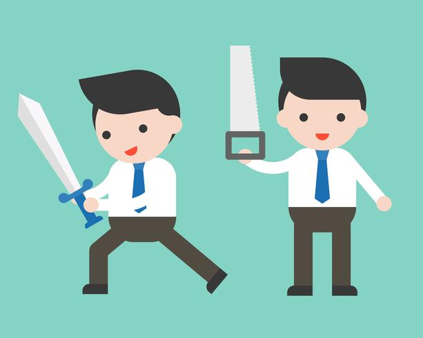 Cute Businessman or manager holding sword and saw, ready to use character vector