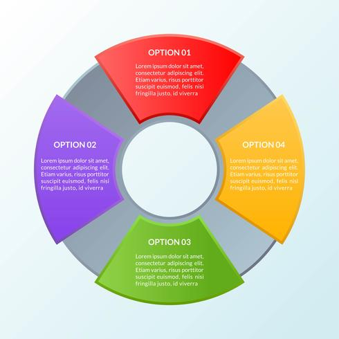 Infografisk mall med fyra alternativ eller arbetsflödesdiagram