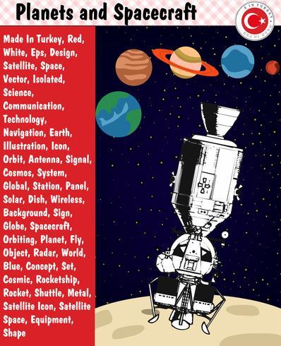 Planeter och rymdfarkoster, eps, vektor