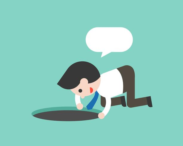 businessman searching something in hole and blank speech bubble vector
