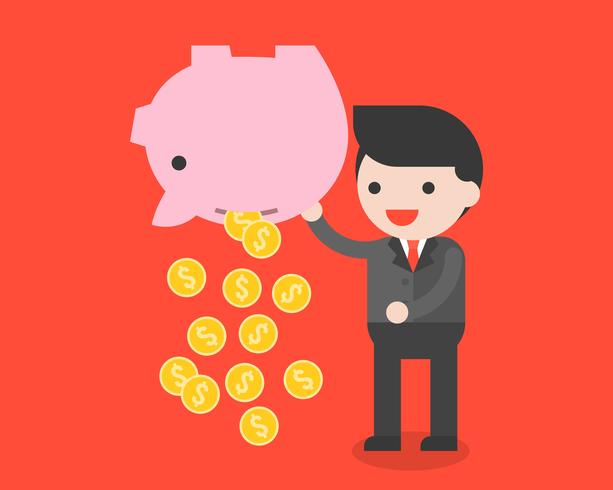 Businessman carrying piggy bank and gold coins, saving money concept