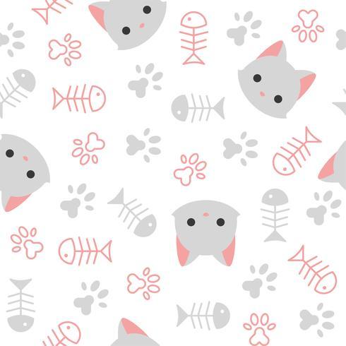 gatinho fofo sem costura padrão, tema de amante de gato